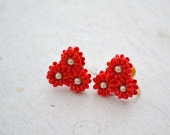 1960s Ribbon Flower Cluster Screw Back Earrings