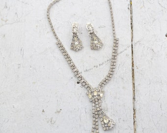 1960s Rhinestone Necklace and Clip Earrings Set