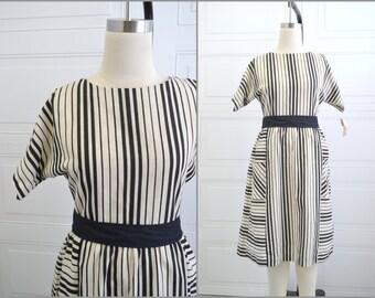 1970s Black Striped Dress
