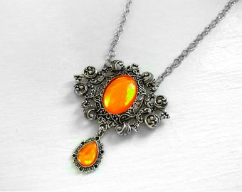 Victorian Necklace, Handmade Glass Opal Orange, Filigree Art Nouveau Pendant, Renaissance Necklace, Color-Shift