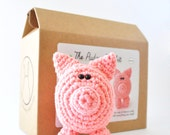 Pig Amigurumi Kit, Crochet Kit, DIY Kit, Learn to Crochet, Amigurumi Pattern