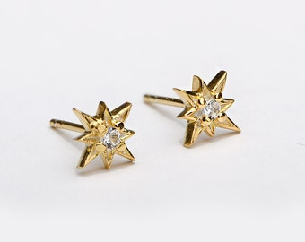 White Zirconia Starburst Stud Earrings, Sterling Silver, Gold Plated, North Star Earrings, Minimal Lunaijewelry, Gift for Her, STD049WCZ