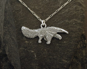 Sterling Silver Giant Anteater Pendant on a Sterling Silver Chain.