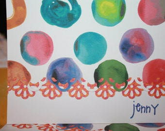Bright colored circles retro design handcrafted Note Cards - personalization may be left off Set of 10