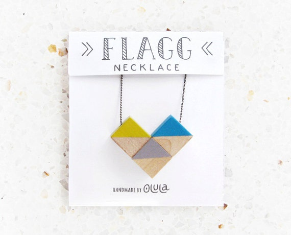 Necklace with geometric design · Heart shape Pendant · Birch wood Necklace · Wooden necklace painted by hand. Wooden Jewelry