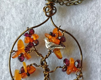 Handcrafted Wire Wrapped Honey Amber and Garnet Gemstone Tree of Life Pendant,Nature Jewellery,Healing Crystals,Valentines Day,Yoga, Bird