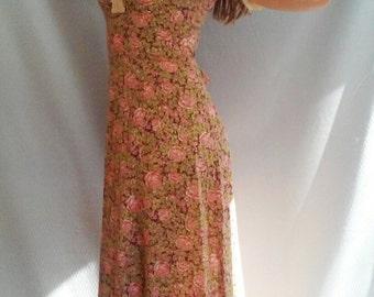 70s Cotton Floral Prairie MAXI Dress, xs, s