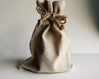 Natural Linen Drawstring Bag with Hemp Pull Cords, 3x5, 4x6, 5x7, OR 6x10 inches, storage pouch, gift bag, potpourri sachet, wedding, craft
