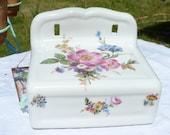 Limoges Porcelain Floral Toilet Paper/Tissue Holder Dispenser - French Vintage - Flower Pattern - Spring Vintage Finds - Limoges - Spt Team