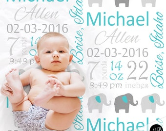 Birth Stats baby gift blanket with elephant, personalized blanket, stats blanket, boy baby blanket, baby shower gift,   elephant