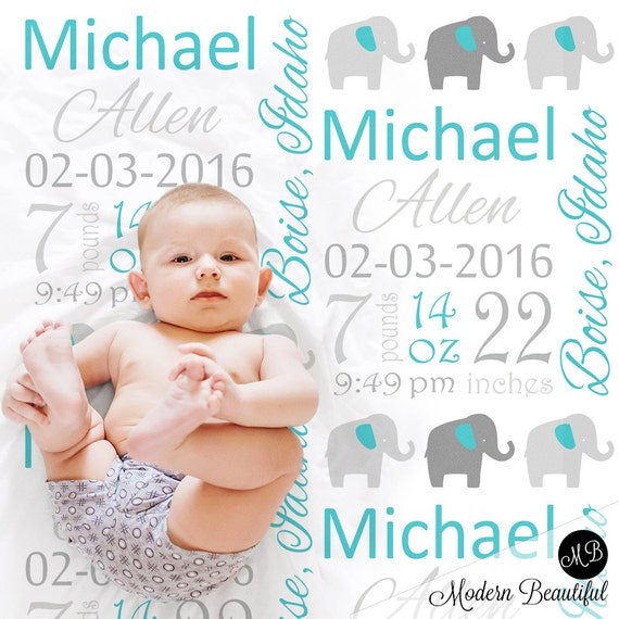 Birth stats baby gift blanket with elephant personalized blanket il570xn negle Gallery