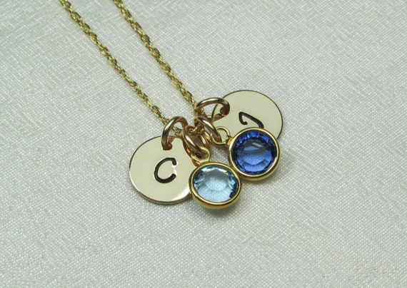 gold mothers necklace birthstone initial necklace mothers. Black Bedroom Furniture Sets. Home Design Ideas