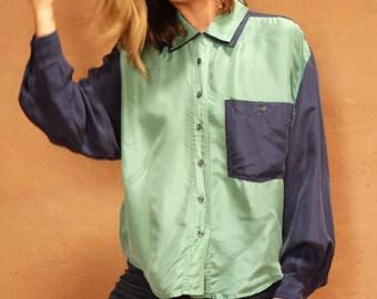 silk 90s COLOR BLOCK blue & green kriss kross silk blouse