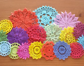 18 Rainbow Colors Hand Dyed Crochet Doilies, Crochet Mandalas, Doilies for Crafts, Small Colorful Doilies