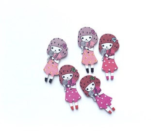 5 Little Girl Buttons, Wood, Wooden, Doll, Kids Buttons, Red, Pink, White