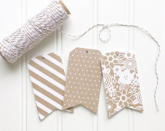 10 Ltd. Edition Die Cut Kraft & White Stripe, Dots, or Floral Lace Pennant Gift or Favor Tags (3.5 x 2 inches) backed with white cardstock