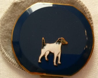 "Stratton Powder Compact; Rare ""Clipped Round""; Featuring A Raised Enameled Pointer Dog circa 1938-   DR227"