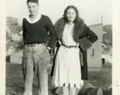 "Julianne Photo ""Ready to Hit the Town"" Girl Couple Snapshot Photo Black & White Photograph Found Photo Paper Ephemera Vernacular - 113"