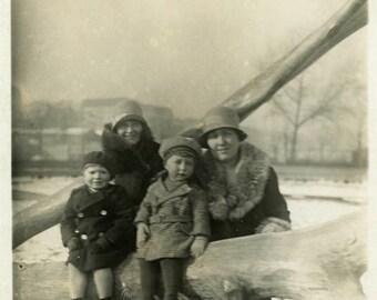 "Vintage Photo ""Winter Stump"" Snapshot Photo Old Antique Photo Black & White Photograph Found Photo Paper Ephemera Vernacular - 158"