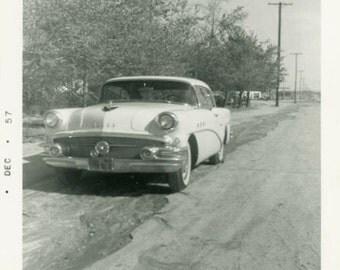 "Vintage Photo ""1957 Time Machine"" Classic Car Snapshot Photo Antique Photo Black & White Photograph Found Paper Ephemera Vernacular - 167"