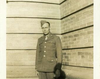 "Vintage Photo ""Heading Across Tomorrow"" Military Soldier Snapshot Old Photo Black & White Photograph Found Paper Ephemera Vernacular - 143"