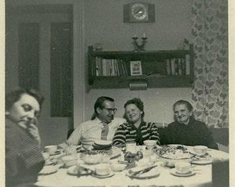 "Vintage Photo ""After Dinner Conversation"" Eating Table Snapshot Antique Photo Black & White Photograph Found Paper Ephemera Vernacular - 180"