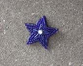 Tiny Cobalt Star Beaded Hair Clip