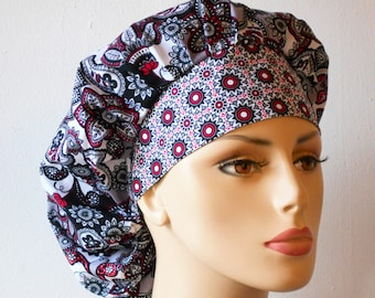 Scrub Hats Bouffant Surgical Scrub Hat Grey Medallions and Flowers All Over Medical Scrub Hat