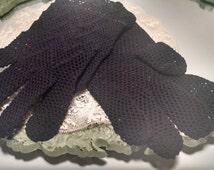 black crochet gloves