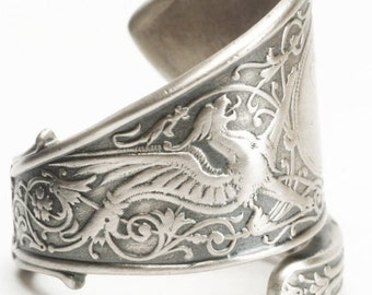 Griffin Ring, Sterling Silver Spoon Ring, Griffon Ring, Silver Dragon Ring, Sterling Dragon Jewelry, Engraved M, Adjustable Ring Size (6004)