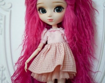 "10in"" Long Magenta Fuscia Tibetan Mohair Wavy Wig for Volks BJD SD and Pullip Dolls"