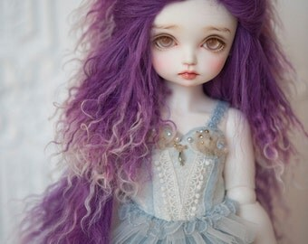 "10in"" Long Dark Purple Plum and White Gradient Tibetan Mohair Wavy Wig for Volks BJD SD and Pullip Dolls"