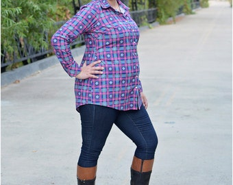 Oakley Button-Up PDF Sewing Pattern: Women's Blouse Pattern, Women's Button-Up Shirt Pattern
