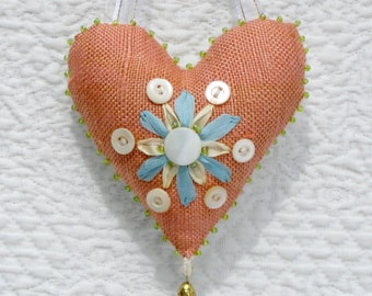Spring flower heart ornament with ribbon embroidery and vintage buttons