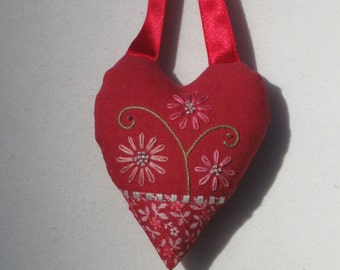 Pink flowers embroidered heart Valentine ornament
