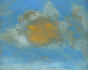 Original abstract minimalist skyscape cloud painting - June sky