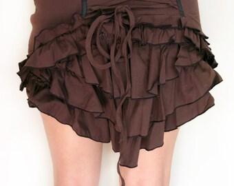 Mini Bustle Skirt w Lacing & Frills - Festival Steampunk clothing - Brown
