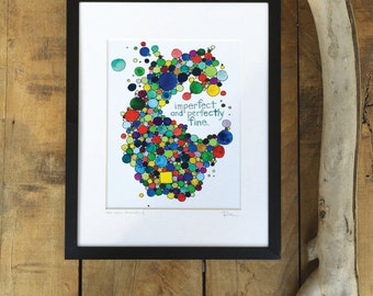 "Art that celebrates being human and imperfect, ""The new standard"" print"
