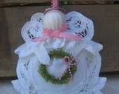 White Angel Ornament, Battenburg Lace Angel, Tree Decor, Christmas Angel, Angel Collector, Tree Ornament, Pink & White Angel, Cottage Chic