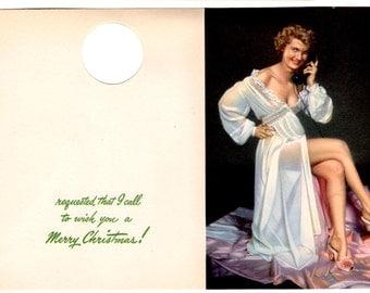 Vintage Naughty Christmas Humor Unused Card - Retro Humor - Vintage Mixed Media, Collage, Art Journal, Scrapbookng, Decor, Craft Supplies