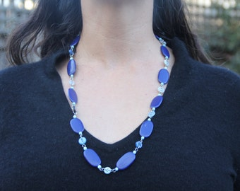 Blue beaded and button necklace // royal blue // long blue necklace // chunky blue necklace
