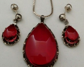 Sterling Silver, Red Glass Necklace & earrings 1930s, Demi Parure