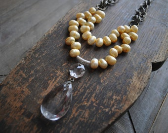 Pearl Chain Necklace, Crystal and Pearl Necklace, Multi Layer Necklace, Vintage Style Necklace, Crystal Pendant Necklace