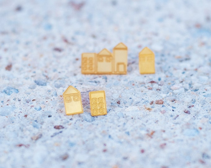 Mix and match Little big town Golden Earrings Architectural Buildings Stud Earrings Gold Plated Minimal countryside Fresh urban design