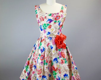 1950s Will Steinman Silk Floral Cocktail Party Dress