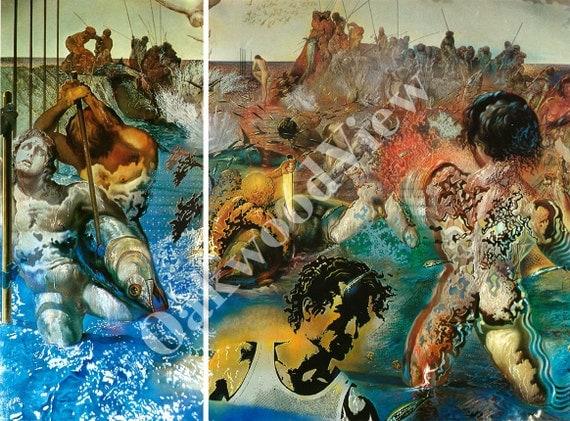 Tuna fishing by dali 2 bookplate prints men fish by for Dali tuna fishing