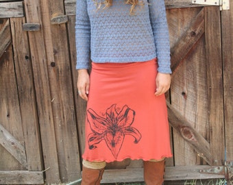Tiger Lily Screen Printed Skirt Soy Organic Cotton Spandex USA Made New