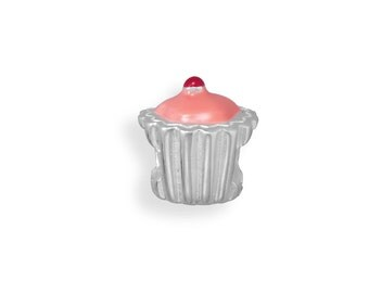 CLOSEOUT Pink Cupcake Bead Charm Sterling Silver 925 Fits most brands of European style bracelets