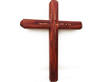 Vintage Folk Art Wood Cross   Wall Cross   Wooden Cross   Religious Wall Decor   Crucifix