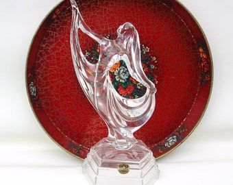 Vintage Crystal Figurine / Dancer Figurine / Art Deco Lady / Italian Art Glass - Dancing Queen Cake Topper